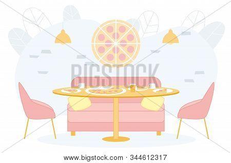 Bright Banner Trendy Pizzeria Interior, Cartoon. Exclusive Design Cafe Or Restaurant Italian Cuisine