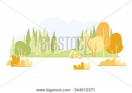 Typical Hilly Field Landscape, Cartoon Slide. Rocky Landscape Forest Belt. Natural Complex Glade Wit