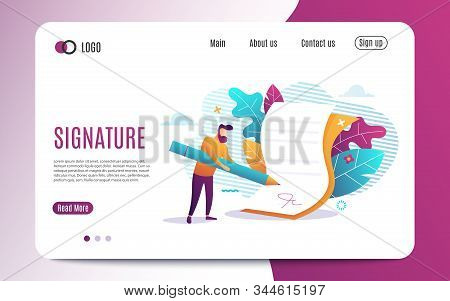 Electronic Signature. Signature Of Business Contract With An E-signature On Device. Flat Colorful St