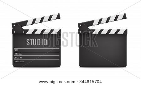 Vector 3d Realistic Opened Movie Film Clap Board Icon Set Closeup Isolated On Transparent Background