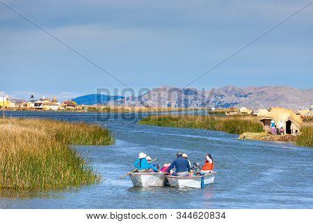 Floating Islands Of Uros, Lake Titicaca, Peru, South America - 2019-12-01. Floating Islands Of Uros,