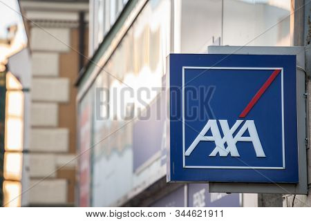 Prague, Czechia - November 4, 2019:  Axa Logo On Their Local Agent In Prague. Axa Is A French Insura
