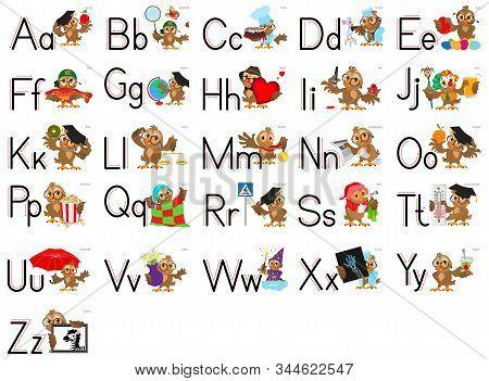 English Alphabet Abc Letter Set. Owl Teacher Learn Grammar. Isolated On White Vector Cartoon Illustr