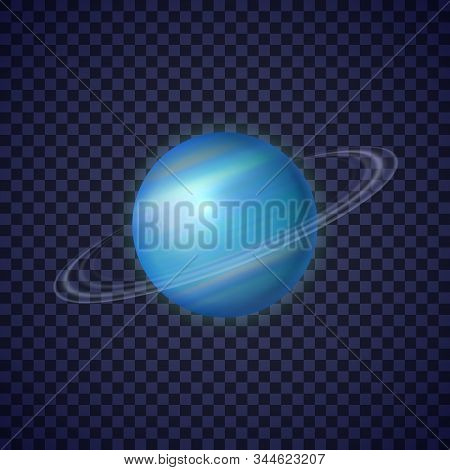 Uranus Planet With Rings On Transparent Background. Seventh Ice Giant Planet Of Solar System. Galaxy