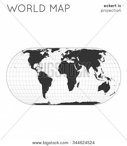 World Map. Globe In Eckert Iv Projection, With Graticule Lines Style. Modern Vector Illustration.
