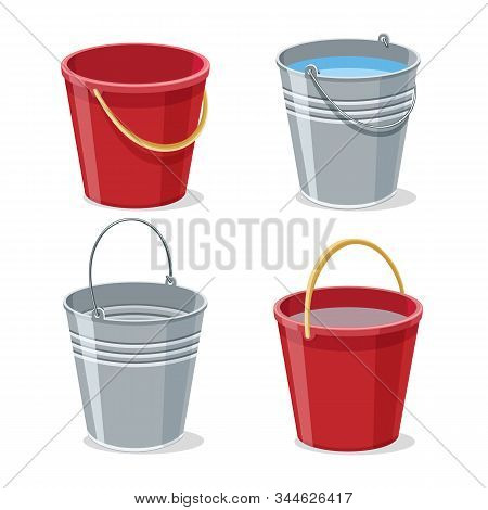 Full And Empty Gardening Buckets. Pailful Or Bucket With Water Vector Illustration, Filled Steel Met