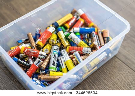 Adelaide, Australia - July 7, 2019: Assortment Of Used Household Aa And Aaa Batteries Collected In P