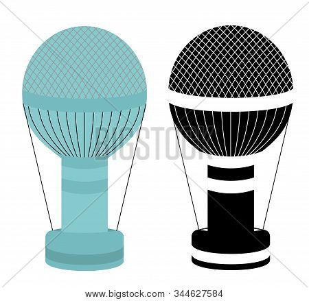 Hot Air Balloon. Colorful And Black And White Aerostat Isolated On White Background. Air Balloon Ico