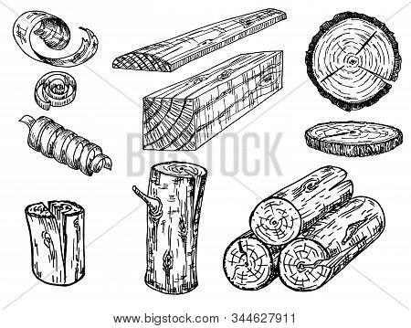 Set Of Wood Logs For Forestry And Lumber Industry. Illustration Of Trunks, Stump, Shavings And Plank