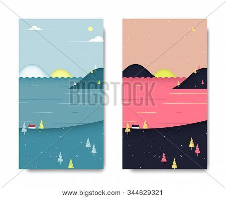 Sea View Scenery Landscape, Small House On The Hill With Sea And Cherry Mountains Behind, Day And Ni