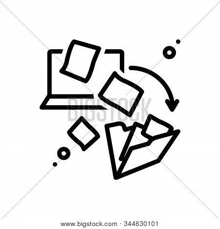 Black Line Icon For Dematerialization Integration File-transfer