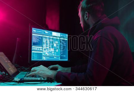 Hackers making cryptocurrency fraud using virus software and computer interface. Blockchain cyberattack, ddos and malware concept. Underground office.