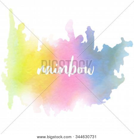 Rainbow Watercolour Background In Watercolor Style On White Background. Vector Illustration Abstract