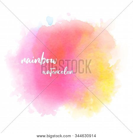 Abstract Isolated Colorful Pink-yellow Vector Watercolor Stain Design Template On White Background.