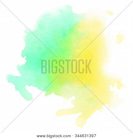Green- Yellow Watercolour Background, Great Design For Any Purposes. Vector Watercolour. Paint Stain