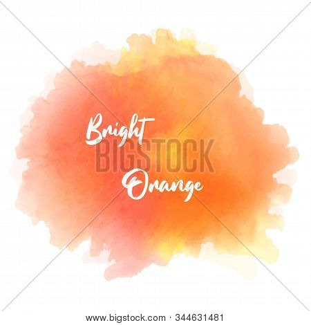 Bright, Juicy Orange Watercolor Splash Isolated On A White Background. Solar Watercolor, Summer Suns