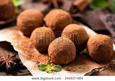 Homemade Chocolate Truffles With Cocoa Powder Closeup View. Tasty Chocolates, Confectionary Concept