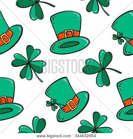 Seamless Pattern With Clover Leaves And Bowler Hat. Simple Vector Illustration. Cartoon Style.