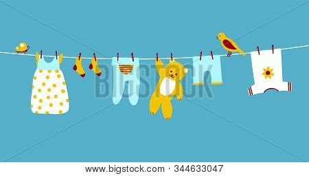 Baby Clothes On Clothesline Hanging And Drying. Clean Apparel On A Rope. Colorful Vector Illustratio