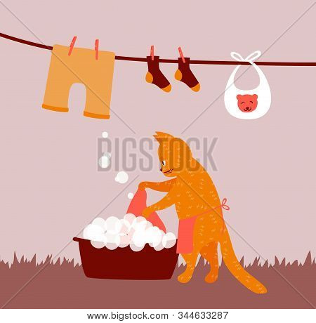 Funny Cat Doing Laundry As A Housewife. Housework Illustration For Washing And Hanging Clothes For D