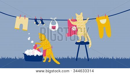 Two Funny Cats Doing Laundry As A Housewife. Housework Illustration For Washing And Hanging Clothes