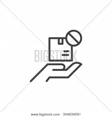 Delivery Status Unavailable Line Icon. Linear Style Sign For Mobile Concept And Web Design. Parcel B