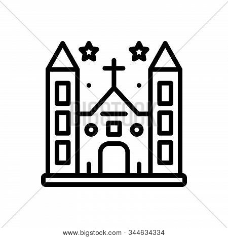 Black Line Icon For Diocese Church Province Shire Presidency Building