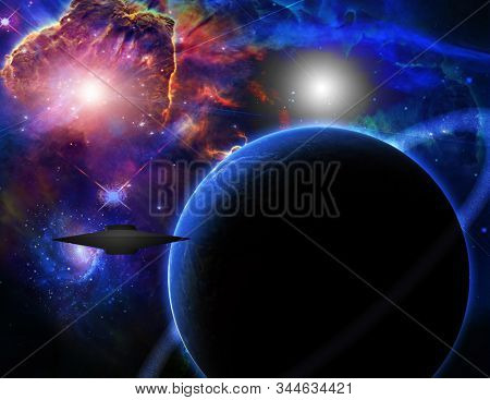 Spaceship in space near the dark exoplanet. 3D rendering