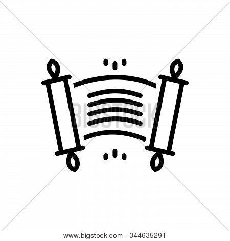Black Line Icon For Edict Ordinance Rescript Scroll Royal-edict