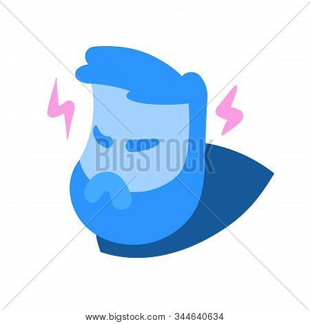 Angry Cartoon Man Head In Rage, With Lightnings Of Wrath Around. Avatar, Emotions Face, Expression,