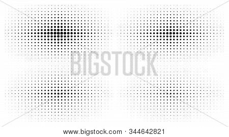 Set Of Halftone Gradient Textures Isolated On White Background. Comic Dotted Pattern Using Halftone