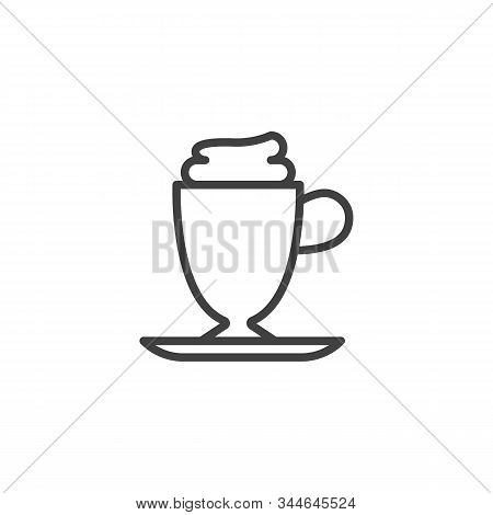 Frappe Coffee Cup Line Icon. Linear Style Sign For Mobile Concept And Web Design. Milkshake Cup With