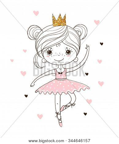 Cute Little Ballerina In Tutu And Pointe Shoes. The Princess Girl Is Dancing In A Pink Dress. A Beau