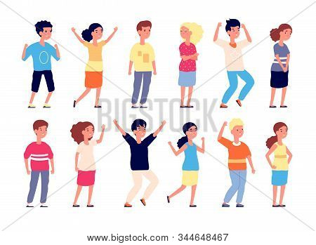 Emotional Kids. Children Faces Expression, Emotion Kid. Group Of Teens Laugh, Cry And Joy. Vector Is