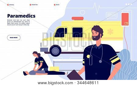 Ambulance Service. Paramedic Nurses, Emergency Doctor Transport. First Help Or Health Protection Ban