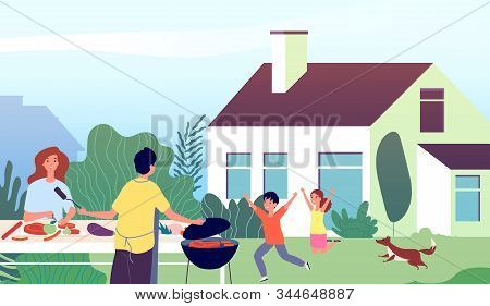 Picnic Time. Garden Bbq Party. Family Backyard Barbecue Cooking. Mother And Father With Happy Childr