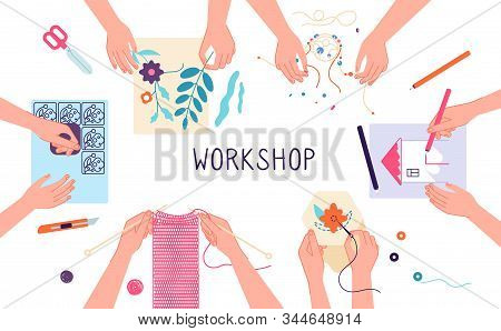 Handmade Workshop. Craft Diy Knitting, Drawing And Scrapbooking Projects. Creative Lab, Design Or Te
