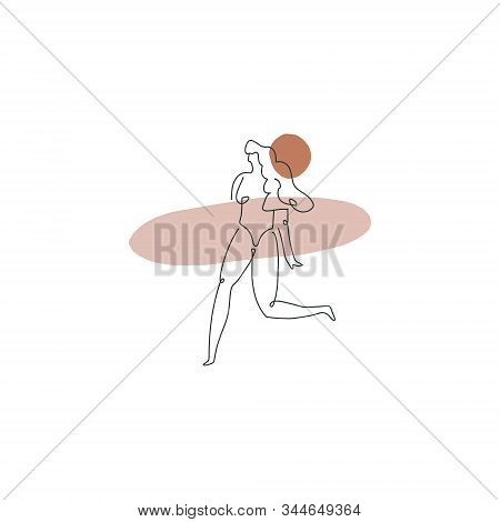 Surf Girl Bodypositive Hand Drawn Woman Line Drawing Modern Abstract Linear Ink Brush Art Contempora