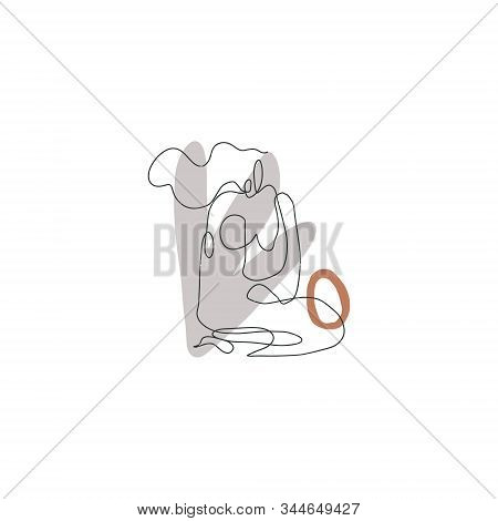 Bodypositive Hand Drawn Woman Line Drawing Modern Abstract Linear Ink Brush Art Contemporary Continu