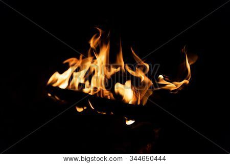Bonfire. Orange Flame Of A Fire. Arson Or Natural Disaster. Bonfire Close. Fire In Nature. Bonfire B