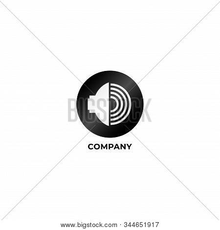 Speaker Sound Logo Concept, Audio Signal Design Vector, Black And White Logo Template, Audiophile, M