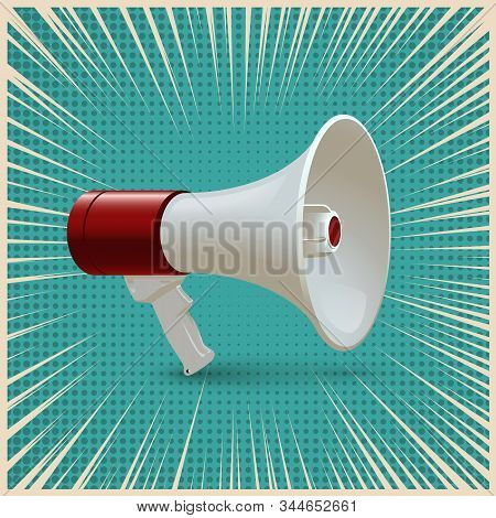 Red And White Megaphone Isolated On Blue Pop Art Background. Vector Realistic 3d Bullhorn