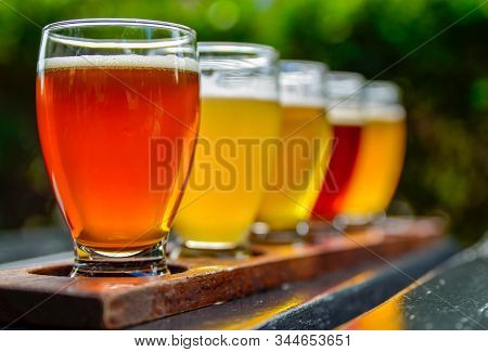 Craft Beer Tasting: Five Glasses With Beers Of Different Colors And Flavors. A Wooden Cup Holder Hol