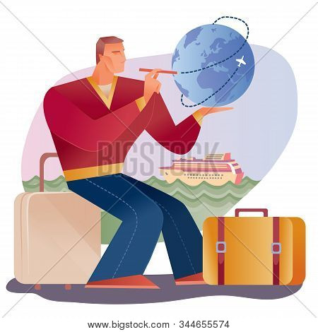 A Man Sits On A Suitcase And Makes Up His Travel Route On The Globe, Behind Him Is A Background With