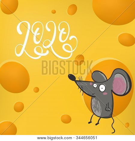 Cute Rat Mouse Live In Cheese Home Cute Creativity Abstract Background.