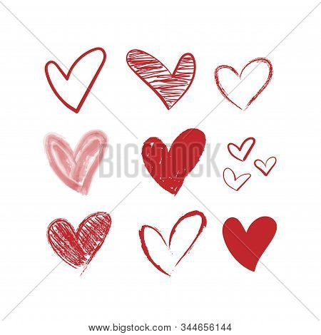 Vector Hearts Set. Different Red Hand Drawn Hearts.