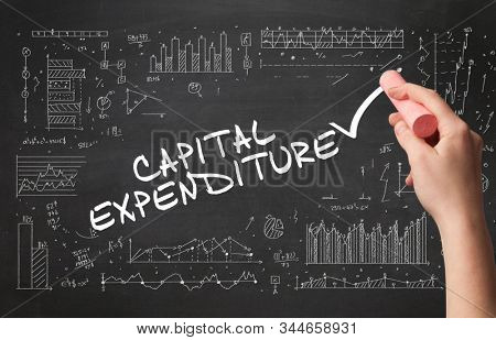 Hand drawing CAPITAL EXPENDITURE inscription with white chalk on blackboard, new business concept