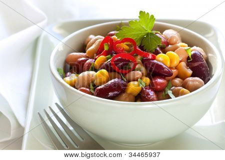 Three bean and corn salad with chili.  Delicious vegetarian eating.