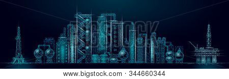 Petroleum Oil Refinery Complex Panorama Business Concept. Finance Economy Polygonal Petrochemical Pr
