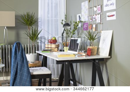 Workspace At Home. Freelance Designer's Desk.